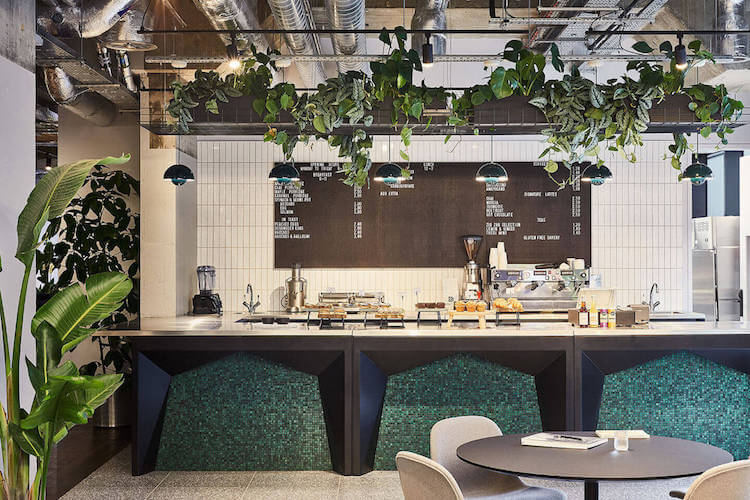 Cafe offering healthy lunches for office workers at One Lyric Square, Hammersmith.