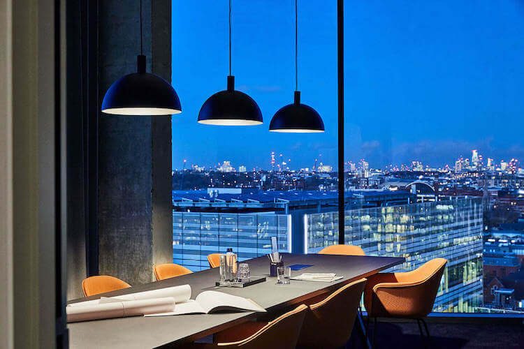 Contemporary meeting room with unparalleled views at One Lyric Square Hammersmith. The meeting space at One Lyric Square, Hammersmith offers modern space for companies to meet in.