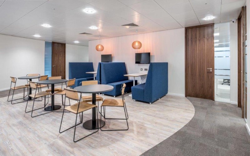 Breakout area and focus booths for office workers to have quiet time and informal discussions