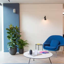 Quiet area for office workers to use at Eastbourne Terrace with views across Paddington.