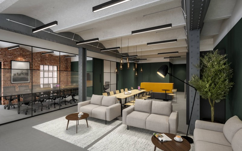 Office Space in The Embassy Tea House building in Southwark transformed from an old warehouse to a flexible office building, boasts beautifully designed break-out space with numerous meeting areas for businesses to use.