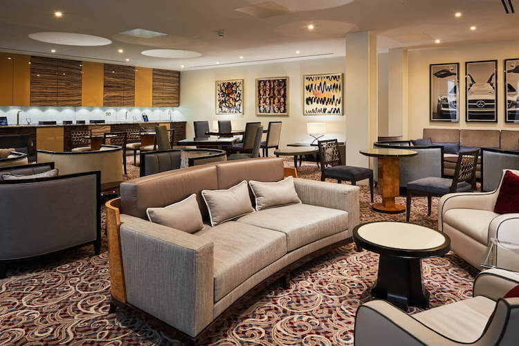 Luxurious business lounge at 16 Berkeley Street for businesses to use outside of their private office space.