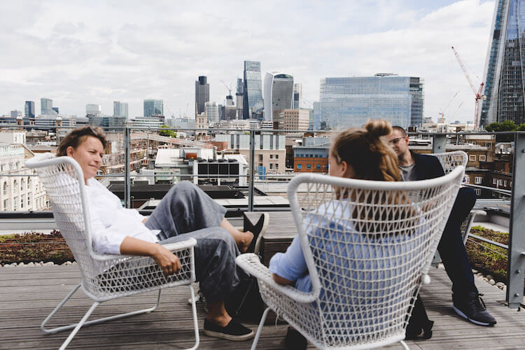 Beautiful roof terrace at The Office Group location 201 Borough High Street for members to use for event space or to relax away from their office.