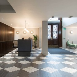 Serviced office reception at Rivington Street, Shoreditch to welcome office occupiers into the building and provide a service tailored to the companies needs.