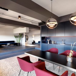 1960's inspired design event space at TOG - Tintagel house, London, SE1. The workspace can be used for your next product launch or company party.