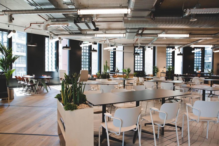 Co-working lounge for small businesses to utilise at TOG's flexible workspace building in Old Street.