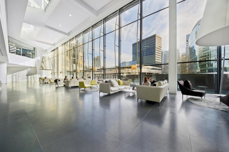 Ample communal space at the serviced office building at 200 Aldersgate St, London.