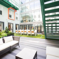The office space in 15 Alfred Place in Fitzrovia offers businesses contemporary flexible workspace with the added bonus of an outdoor courtyard for office tenants to enjoy and work from.