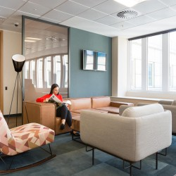Business lounge at Landmark's serviced office building at Beaufort House in Aldgate.