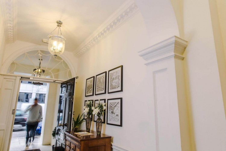 The building entrance to the stunning Office Space in Wigmore Street, Marylebone, London.