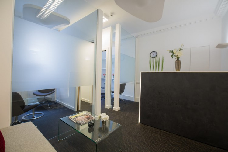 Welcoming reception area in order to meet and greet clients at this serviced office space in Wigmore Street, Marylebone, London.