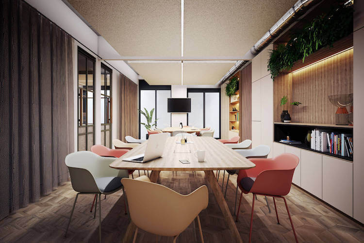 22 Berners Street Fitzrovia hosts five floors of premium, tailored workspace complete with smart meeting rooms, fully-stocked kitchens and giving way to beautifully landscaped terraces with views over the city.
