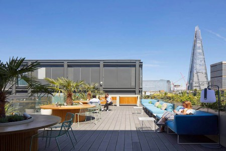 Stunning roof terrace with views across London for business' to use outside of their office space at this Flexible Workspace in Borough High Street.