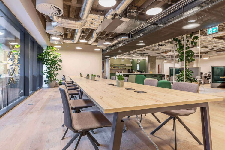 Beautiful collaborative breakout space for office workers at the Fora office space in Broadwick Street.