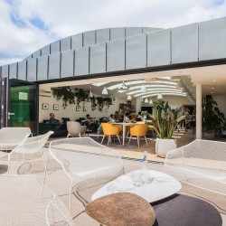 The office space in Dallington Street, Clerkenwell boasts a stylish top floor lounge with wall-to-wall skylights, full-height glazing and a private outdoor roof terrace.