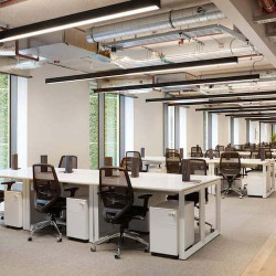 Fora space offers design-led flexible office space on Southwark Bridge Road featuring premium design details with panoramic views across Southwark towards The Shard.