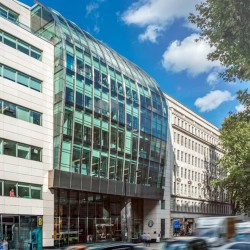 The building exterior of the flexible office space in High Holborn, London providing businesses with co-working areas, hot desks and private serviced offices.