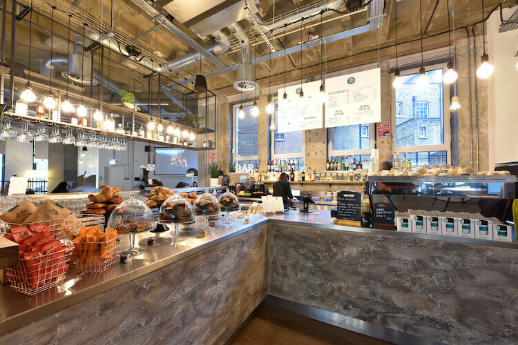 Cafe offering healthy lunches for office workers at this office space in Hogarth House, Holborn.