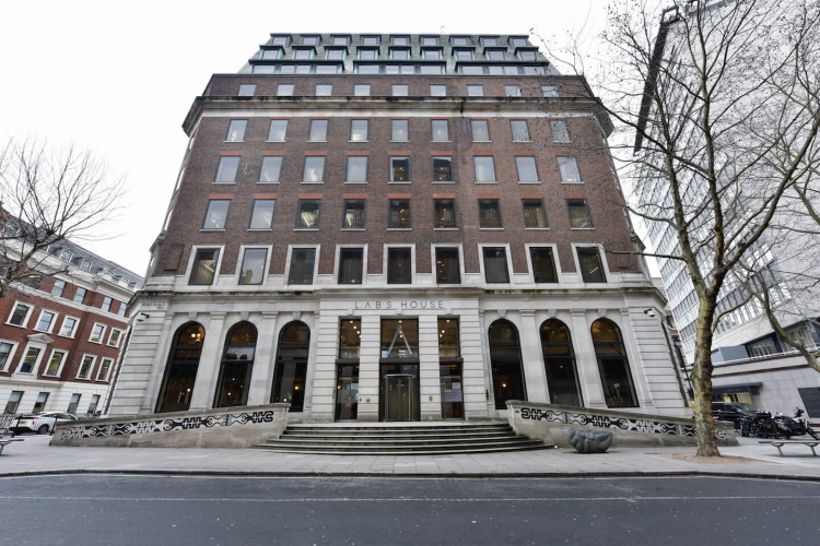 The external view of Labs House, Bloomsbury. These Serviced Offices in Bloomsbury Way offers companies a mixture of co-working and office space.
