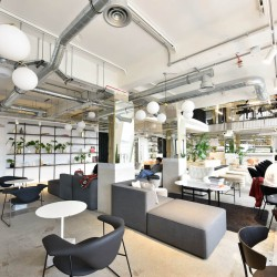 The office space in Bloomsbury way provides different workspace environments for businesses to enhance productivity outside of their private office space.