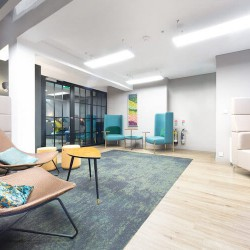 Stunning breakout areas in this modern office space in Newman Street, Fitzrovia, for businesses that require flexible working environments.