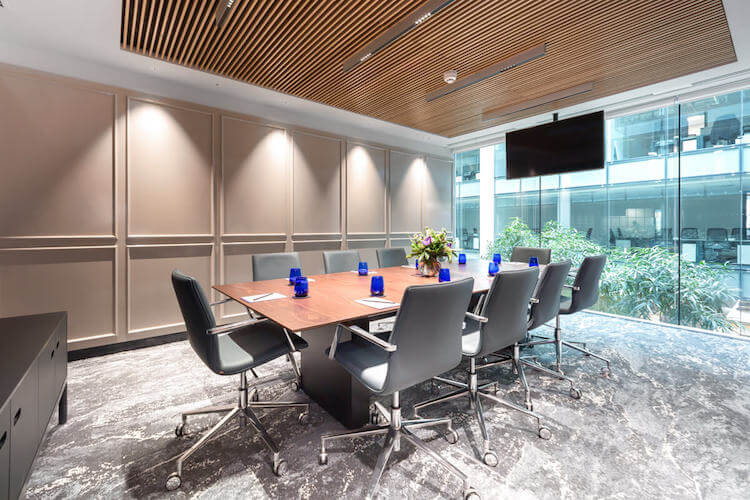 Boardroom filled with natural light for large business meetings at 2 Portman Street, Marble Arch.