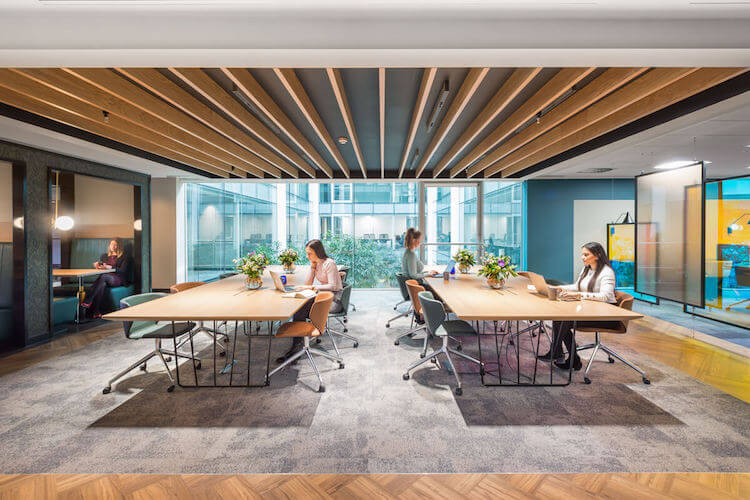 Dedicated workspace areas for businesses to use in the serviced office building in 2 Portman Street, Marble Arch.
