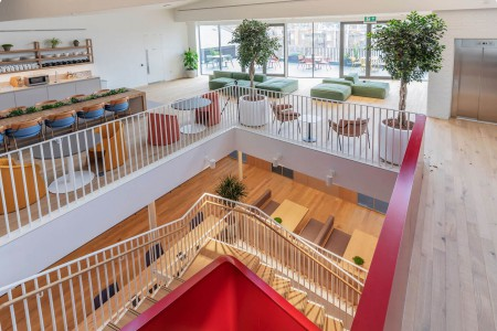 Top floor lounge at the stylishly designed FORA Princelet Street flexible workspace building.