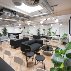 Labs flexible workspace building at Southampton Place, Holborn, offers companies to use the lounge space to work and relax away rom their desks.