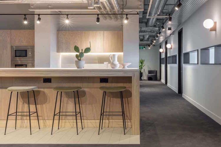 Orion House, operated by The Office Group, offers contemporary kitchen area for office occupiers to use outside of their private office.