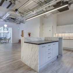Dedicated kitchenette within this serviced office space at 43 Worship Street, providing businesses the opportunity to customise their own workspace with phone booths, designer furniture and meeting rooms.