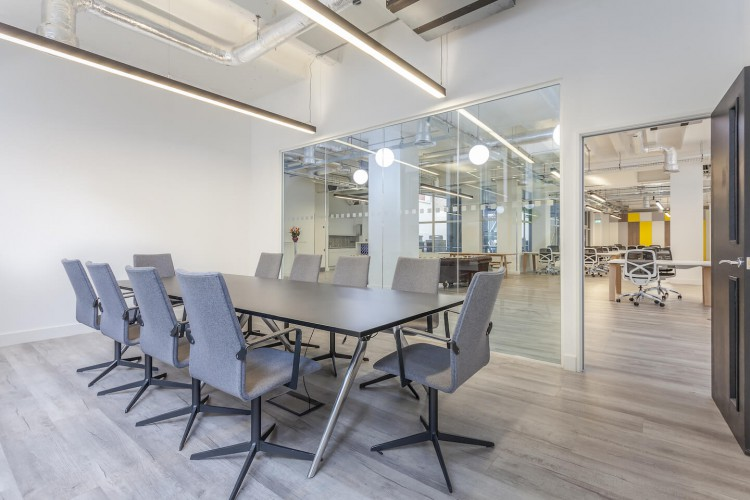 Boardroom filled with natural light for large business meetings at 43 Worship Street, City of London.