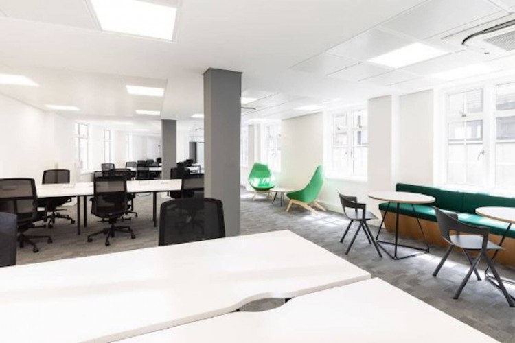 Flexible workspace on Basingahll Street offering fully managed office floors.