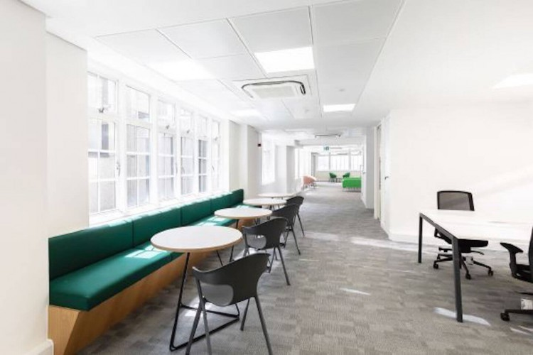 Breakout space within a refurbished office building on Basinghall Street.