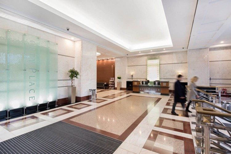 Reception area at City Place House, Instant Managed Office building in the City of London.