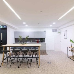 Kitchen & dining area within the fully managed flexible office space at the Crane Building, Southwark.