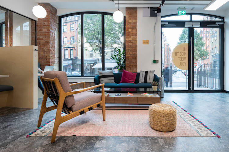 Building entrance of this Flexible Workspace in 33 Foley Street, Fitzrovia offering business' serviced office space and co-working desks to rent.