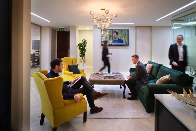 Comfortable breakout area for clients to use at Halkin's flexible office building on Hanover Square.