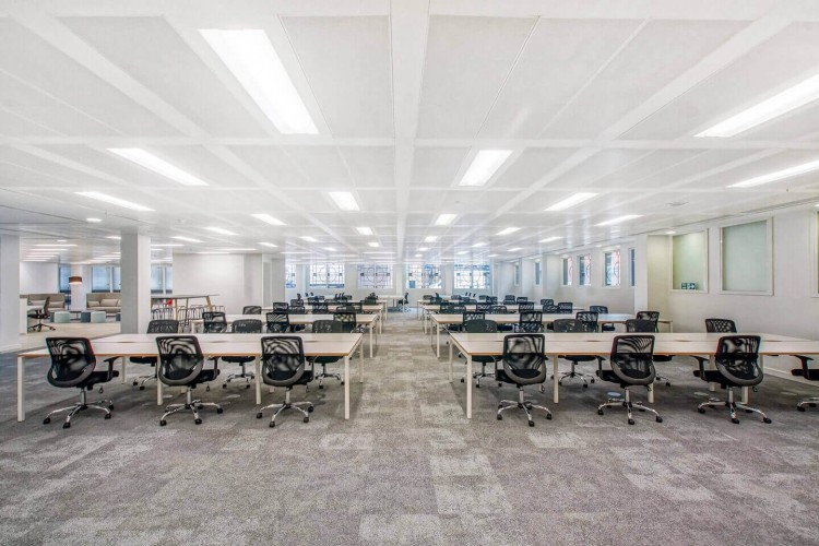 Whole floor of stunning managed office space at Senator House, Queen Victoria Street. The space accommodates up to 80 workstations plus multiple meeting rooms for large businesses wanting to rent their own floor.