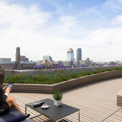 Rooftop workspace with landscaped gardens at Senator House with breathtaking views across Central London.