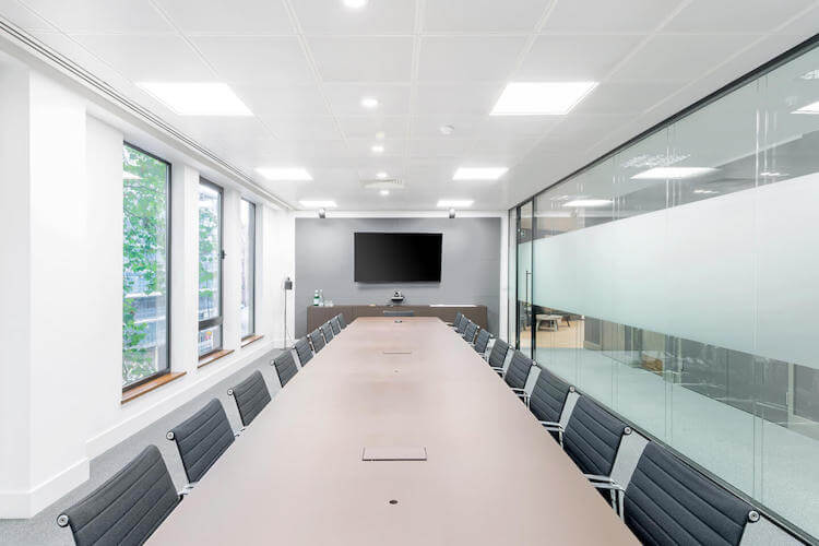 Boardroom filled with natural light for large business meetings at Sentinel House, Marylebone.
