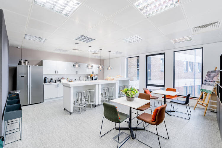 Dedicated kitchen and breakout space for businesses to use on the managed office floors at Sentinel House, Old Marylebone Road.