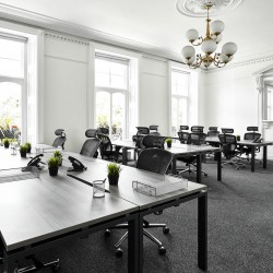 This recently refurbished serviced office building for companies to rent at 44 Russell Square offers fully furbished office space with high ceilings with period features.