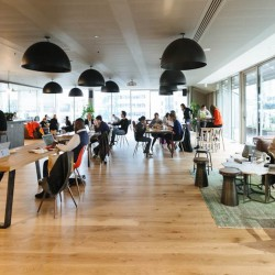 Hot desk area at the beautifully designed Moor Place which is the HQ for the Wework team.