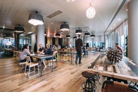 Hot desk area at the beautifully designed flexible office building in South Bank, which is the HQ for the Wework team.