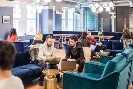 Comfortable breakout area for office occupiers to use at the flexible office building in New Street, minutes from Liverpool Street station.