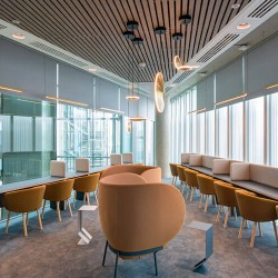 Shared breakout and lounge for businesses to use in the flexible office building at 2 Kingdom Street, Paddington.