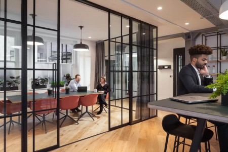 Contemporary and spacious meeting space at Appold Studios in Broadgate, London for businesses to hold informal or confidential meetings with their clients or employees.