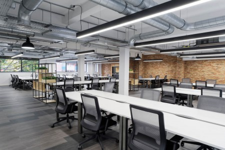 Open plan office space with 40 desks, dedicated meeting rooms and breakout areas at Baltic Street for companies who need a self-contained space on flexible terms.