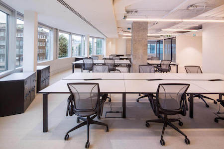 Fully managed office space at 338 Euston Road, London. The office is tailored to the clients needs including branding, furniture and IT.
